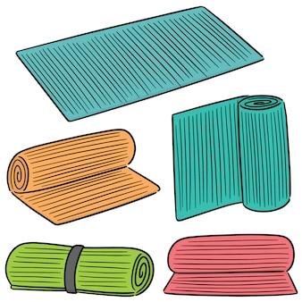 Vector conjunto de tapete de ioga