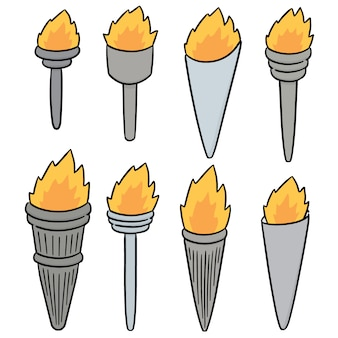 Vector conjunto de tocha de fogo