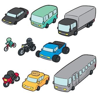 Vector conjunto de transporte e veículo