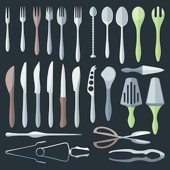 Vector conjunto de vários estilos de jantar talheres plana