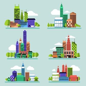 Vector conjunto edifício da cidade