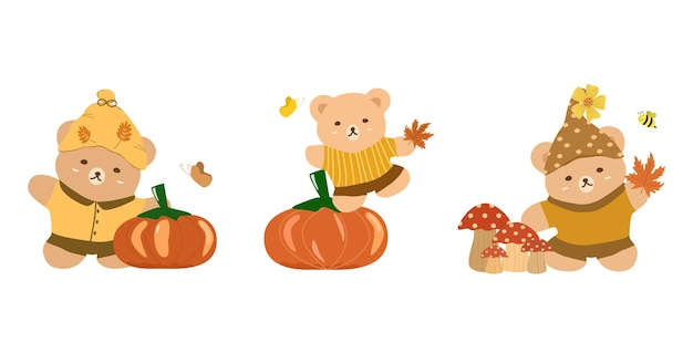Vector conjunto fofo de urso de pelúcia com folhas de bordo de cogumelo de abóbora e inseto outono outono temporada