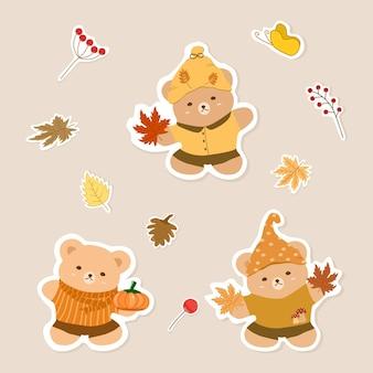 Vector conjunto fofo de urso de pelúcia segurando folhas de abóbora e plátano outono outono clip-art