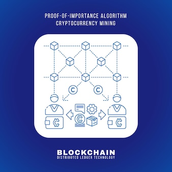 Vector contorno design blockchain prova de importância algoritmo criptomoeda poi princípio de mineração explicar esquema ilustração ícone quadrado arredondado branco fundo azul isolado