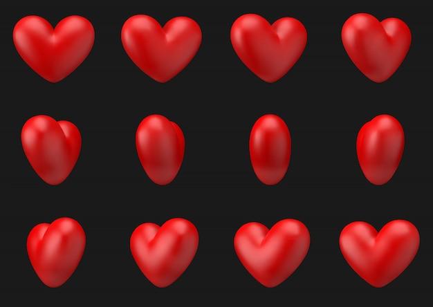Vector coração animação 3d gire em torno de si. 360 graus