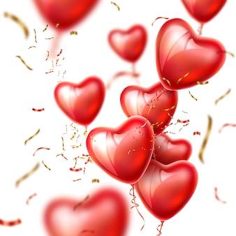 Vector coração balão fita de seda realista conjunto