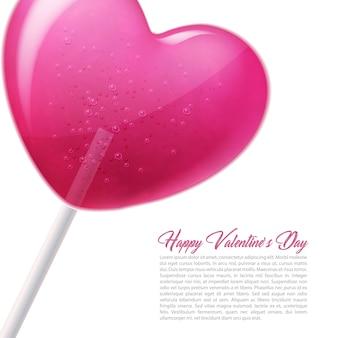 Vector coração pirulito doce 3d dia dos namorados doce