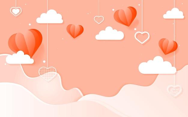 Vector corações pendurados nuvem onda fundo de pêssego