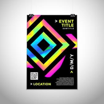 Vector cores gradientes vibrantes formas abstratas modelo de design de cartaz moderno dinâmico modelo de folheto na moda convite folheto layout mínimo criativo fundo escuro na parede
