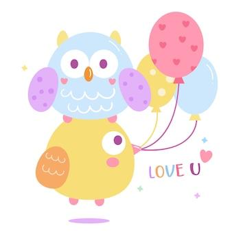 Vector coruja bonito com desenhos animados de balão