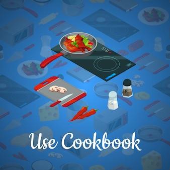 Vector cozinhar comida isométrica ilustração azul