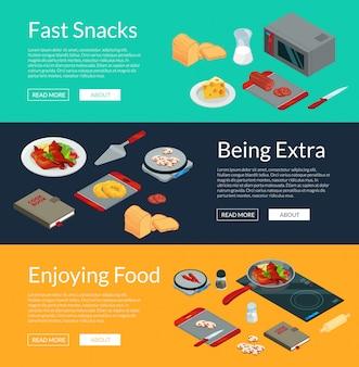 Vector cozinhar ilustração isométrica banners de comida. refeição 3d