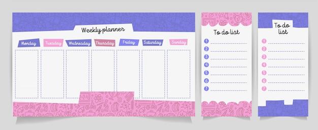 Vector crianças agendar com material escolar bonito dos desenhos animados. planejador semanal.