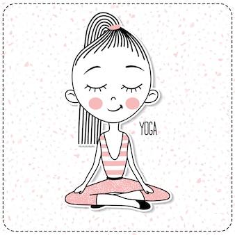 Vector cute garota praticando ioga.