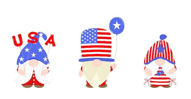 Vector cute gnome vestindo um traje americano com balão de design dos eua. pacote de clipart