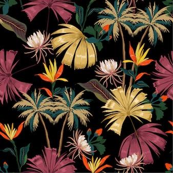 Vector dark tropical pattern padrão sem emenda colorido
