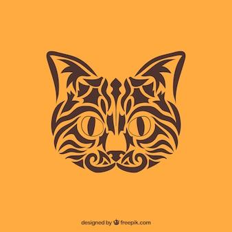 Vector de gato tribal. gato feito com tribos
