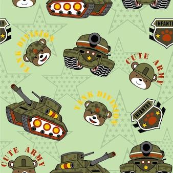 Vector de padrões sem costura com equipamentos militares e cabeça de soldados engraçados