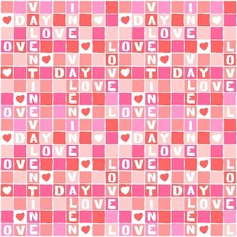 Vector de quebra-cabeça do amor rosa dos namorados com padrão quadrado branco