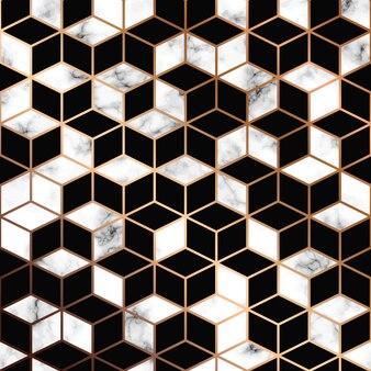 Vector de textura de mármore, design de padrão sem costura com linhas geométricas douradas e cubos