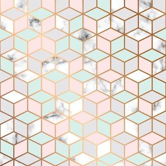 Vector de textura de mármore, design de padrão sem costura com padrão geométrico de cubos dourados