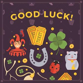 Vector decoração design feito de amuletos da sorte e as palavras boa sorte