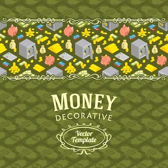 Vector decoração design feito de objetos relacionados a finanças
