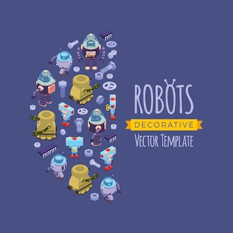 Vector decoração design feito de robôs