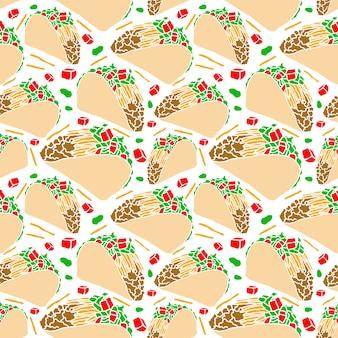 Vector delicioso fast food tacos seamless pattern isolado no fundo branco