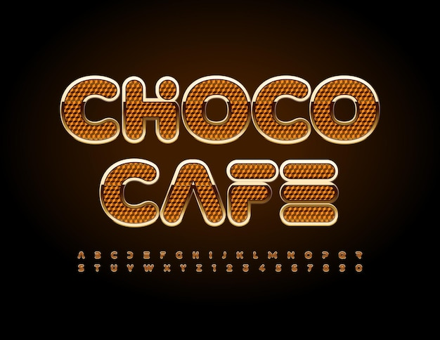 Vector delicioso sinal choco cafe luxo criativo fonte elegante e moderno letras do alfabeto e números