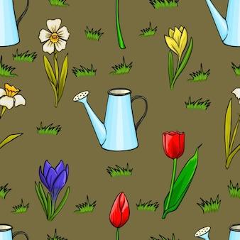 Vector desenhos animados de jardinagem padrão sem emenda com flores da primavera
