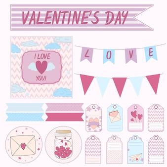 Vector design conjunto de elementos para um presente no dia dos namorados
