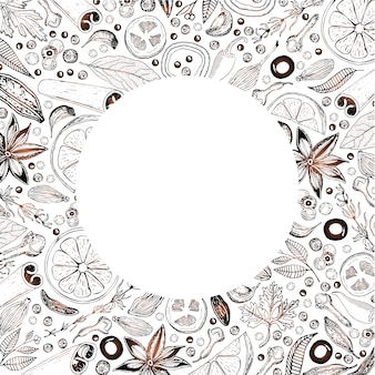 Vector design de cartão com ingredientes comestíveis desenhados à mão, dispostos em um círculo.