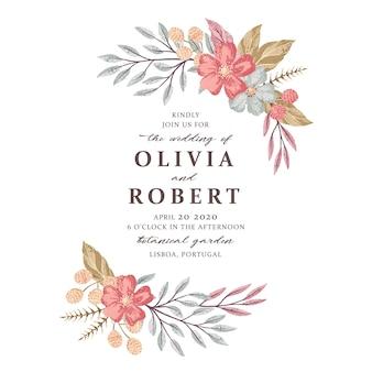 Vector design de cartão de convite floral casamento mão desenhada. salvar a data, cumprimentos, cartão de congrats