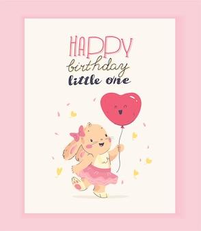 Vector design de cartão de felicitações de feliz aniversário com coelhinho fofo menina segurar balão de ar e felicitações de texto isoladas sobre fundo claro. para cartão hb, convite para festa de chá de bebê etc.