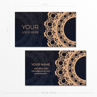 Vector design de cartão de visita na cor preta com padrões de luxo.