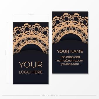 Vector design de cartão de visita pronto para imprimir na cor preta com padrões de luxo. modelo de cartão de visita com ornamentos vintage.