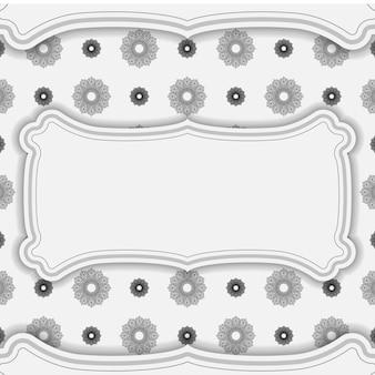 Vector design de cartão postal de cor branca com ornamento mandala preto. design de cartão de convite com espaço para seu texto e padrões.