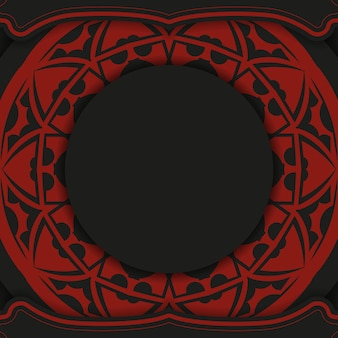Vector design de cartão postal de cor vermelho-preto com ornamento abstrato. design de cartão de convite com espaço para o seu texto e padrões vintage.