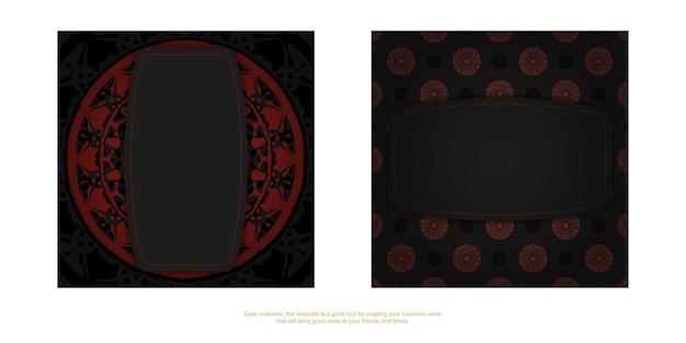 Vector design de cartão postal de cores pretas com ornamento grego. cartão de convite de vetor com lugar para o seu texto e padrões de luxo.