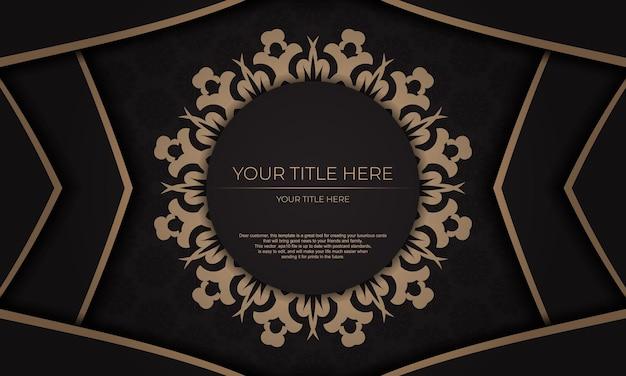 Vector design de convite pronto para impressão com ornamentos vintage. modelo de banner preto apresentável com enfeites de luxo para seu projeto.
