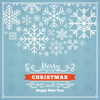 Vector design de decoração de natal feita de flocos de neve