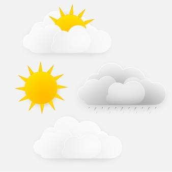 Vector design de época do tempo, sol com nuvens e chuva