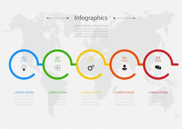 Vector design de infográfico etapas ou processos de conceito de negócio podem ser usados para layout de fluxo de trabalho, diagrama, relatório anual, web design