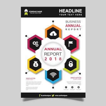 Vector design de modelo de folheto de relatório anual