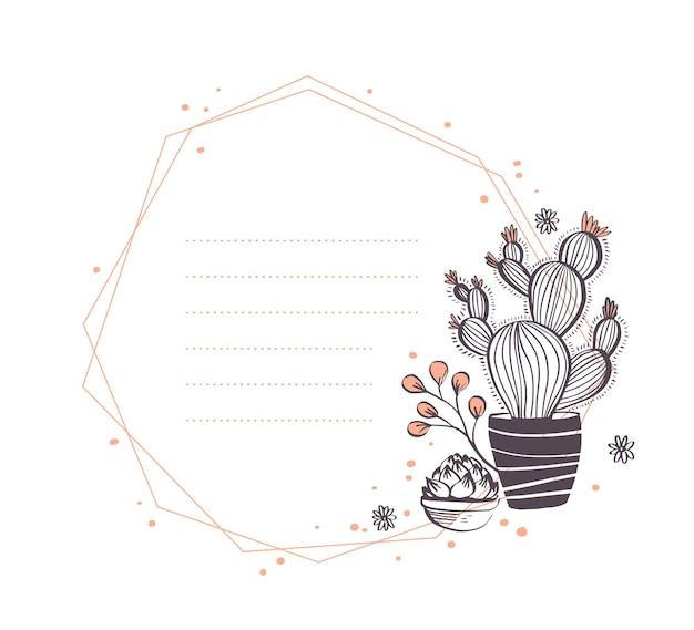 Vector design de moldura geométrica abstrata com cactos no pote, ramos, arranjos de elementos florais isolados no fundo branco. estilo de esboço desenhado de mão. bom para convite de casamento, cartão, etiqueta, etc.