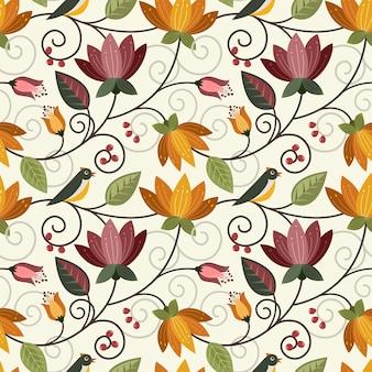 Vector design flores e pássaro sem costura padrão tecido têxtil papel de parede.