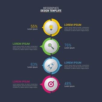 Vector design infográfico para visualização de dados de negócios