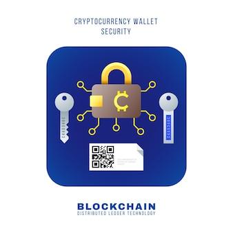 Vector design plano colorido blockchain criptomoeda carteira esquema de princípio de segurança vários tipos chaves de hardware públicas privadas ilustração qr ícone quadrado arredondado azul fundo branco isolado
