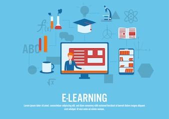 Vector design plano do conceito de E-learning